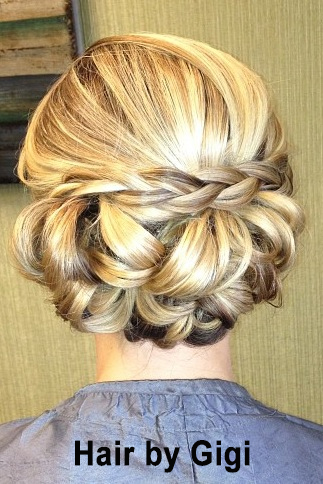 Sample of an updo and wedding hair styling completed by Salon Sora's staff