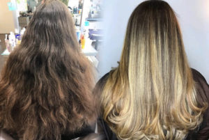Salon Sora client's before and after women's haircut and color