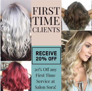 Salon Sora first time client 20% off coupon