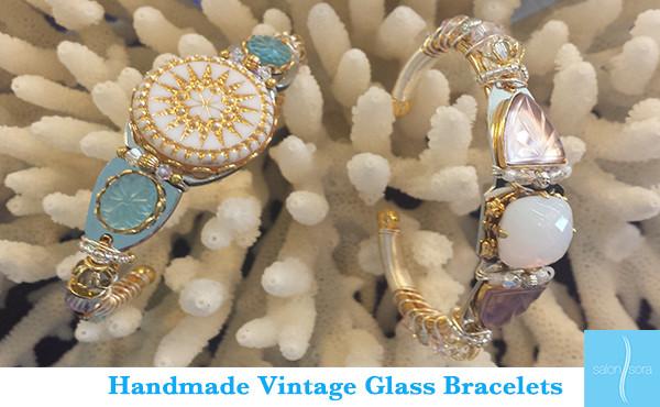 Glass bracelets on coral at Salon Sora